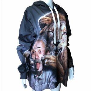 Albert Einstein Smiling Lion Hoodie Sweatshirt XXL